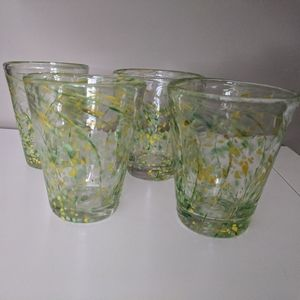 Hand Blown Art Glass Speckled Glasses (4)